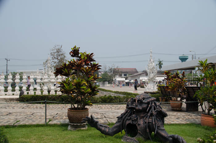 a big sculpture at the white temple in chiang rai