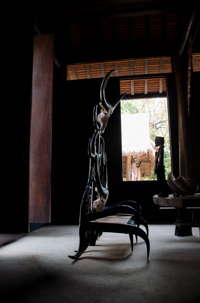 a chair made out of bones at the black house, chiang rai