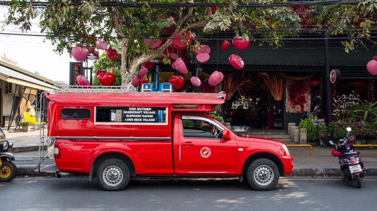 Songthaew red car in Chiang Mai