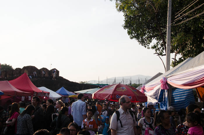 Crowded market in the south east of the city