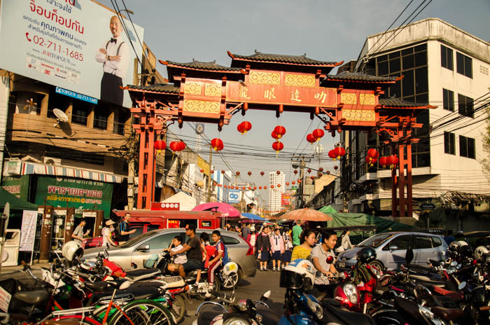 The entrance to the Chinatown was stuffed with scooters, cars and people. It was chaos.