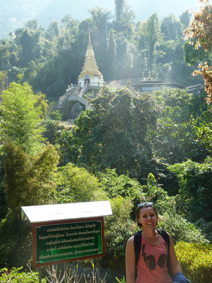 There are 500 steps leading to the Wat Tham Phla Plong