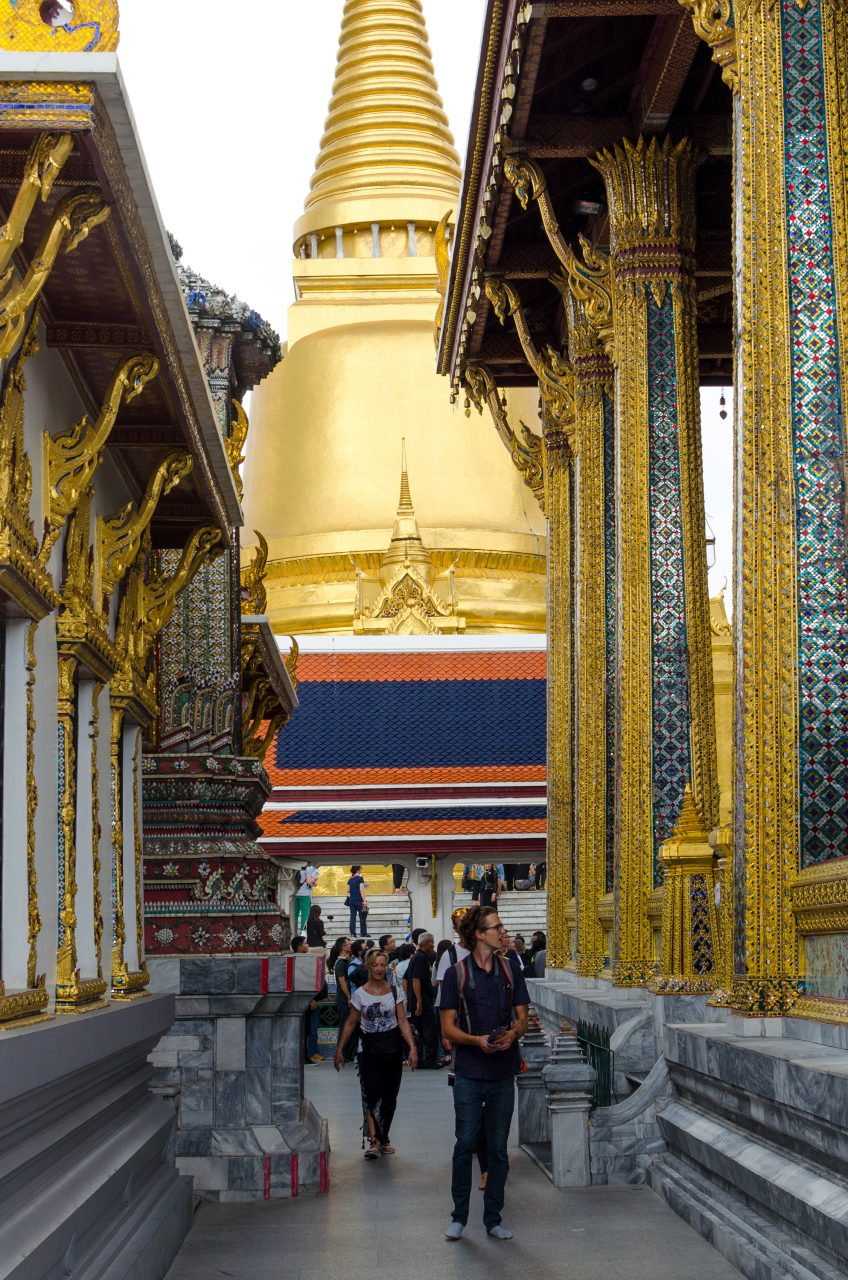 View of temples and a stupa at the Grand Palace in Bangkok