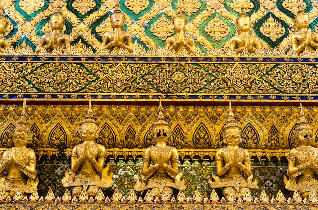 Golden Buddha Statues at the Grand Palace in Bangkok