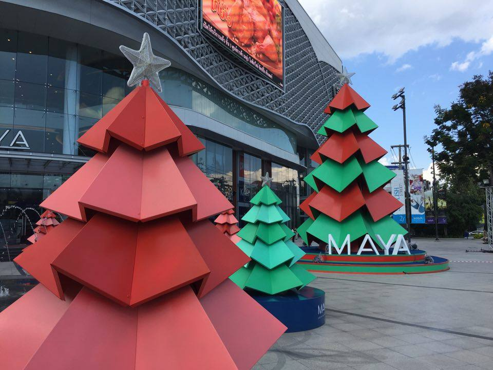 Christmas decorations outside of MAYA Mall