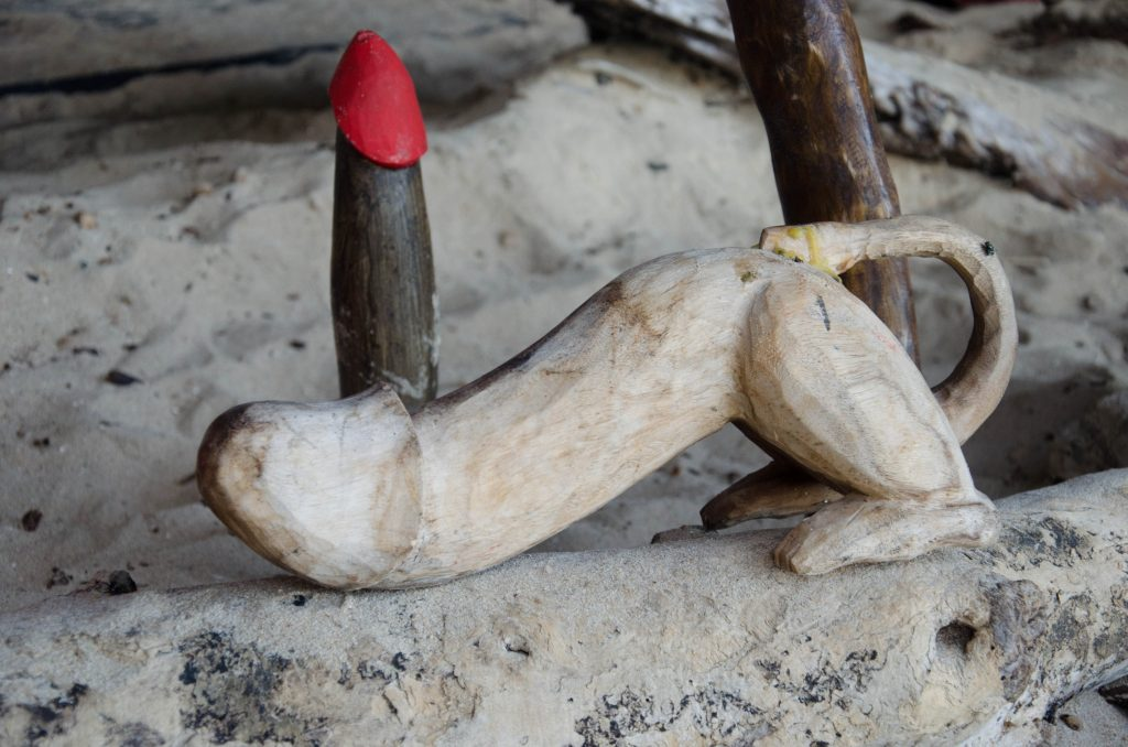 Locals and visitors bring statues of penises to ask for good fortune and fertility