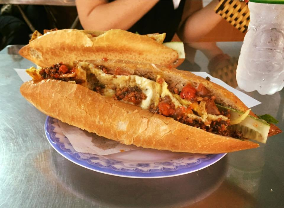 Banh Mi at Madam Khan with fried egg and pork - delicious!