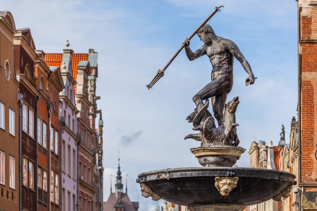 Neptune's Fountain in Gdańsk Old Town