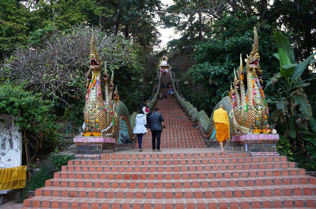 stairs to Doi Suthep, monk walking up the stairs, Chiang Mai