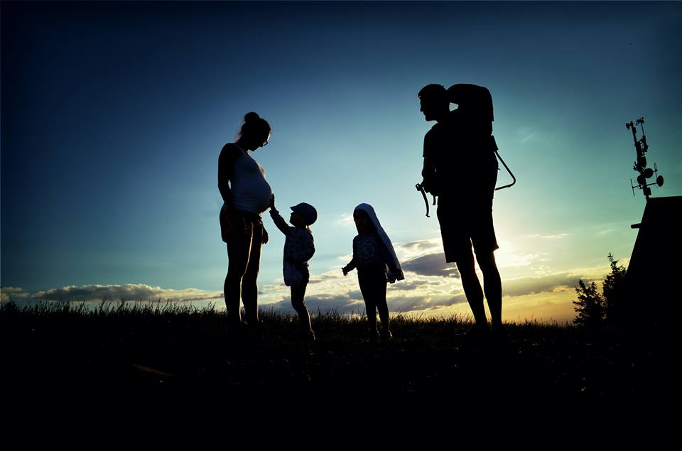 A family hiking in Czech Republic