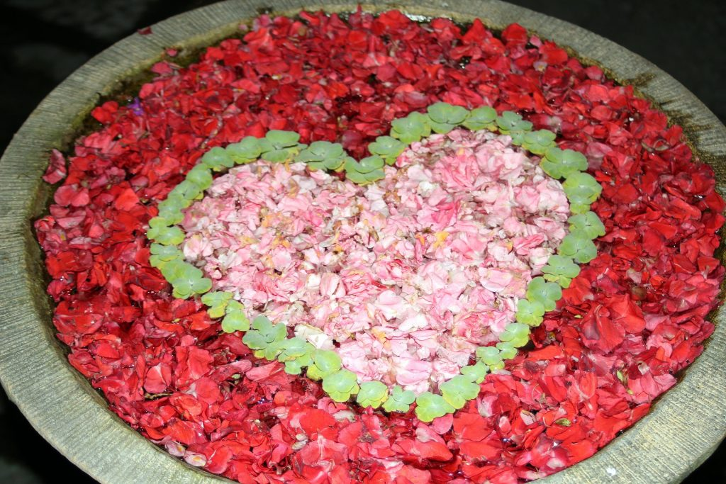 relationships in thailand. a heart made out of flowers