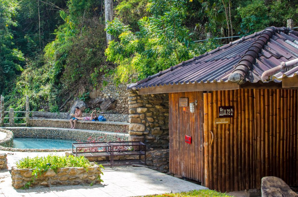 Bathing hut and pool at the Pong Kwao Hot Springs in Chiang Mai