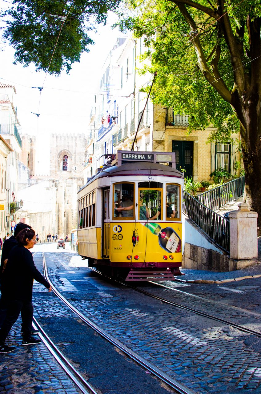 tram 28 on the streets of lisbon
