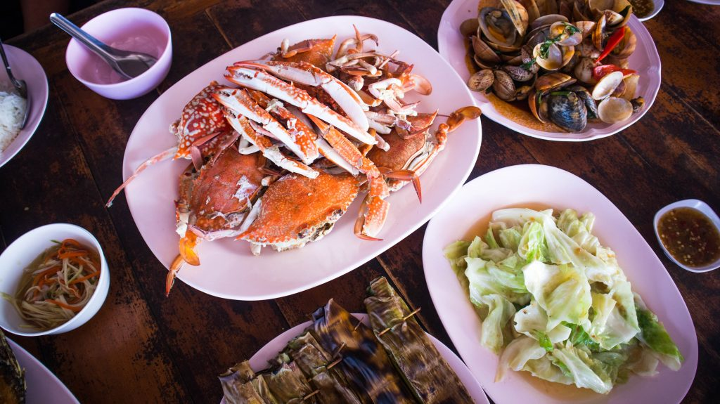seafood in a restaurant in rayong, thailand