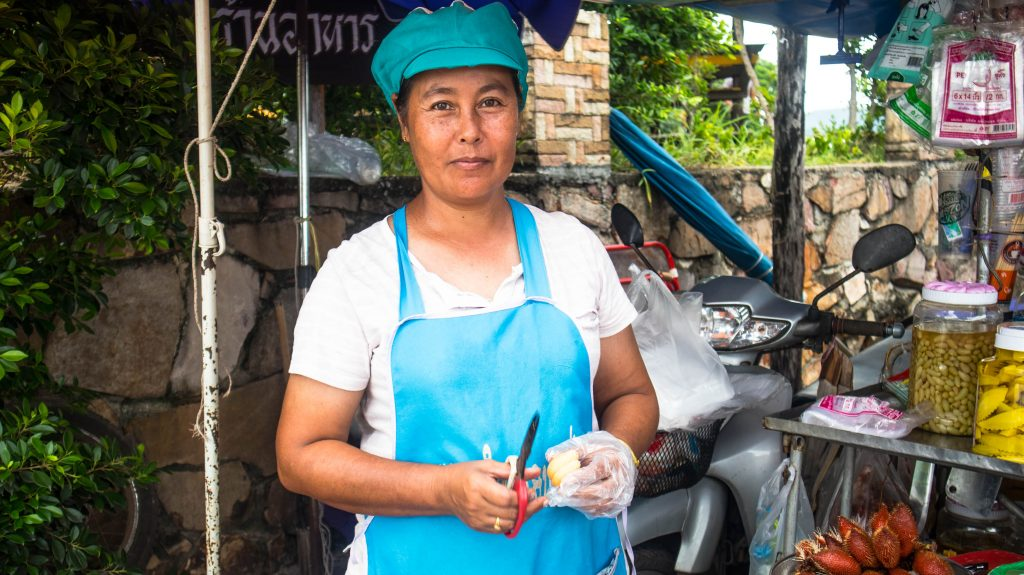 Thai street seller in chanthaburi