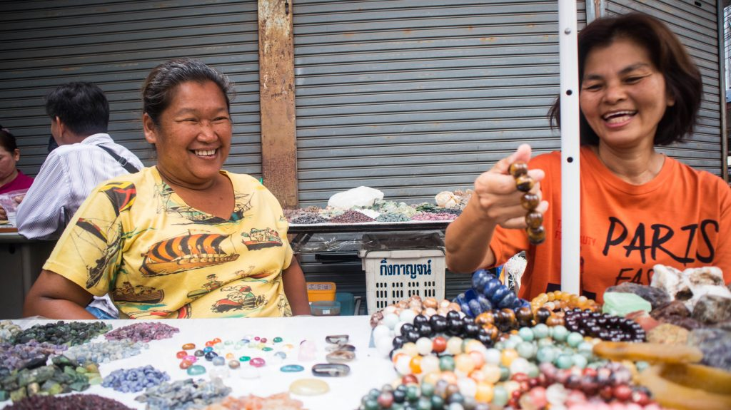 sellers at gems market in chanthaburi