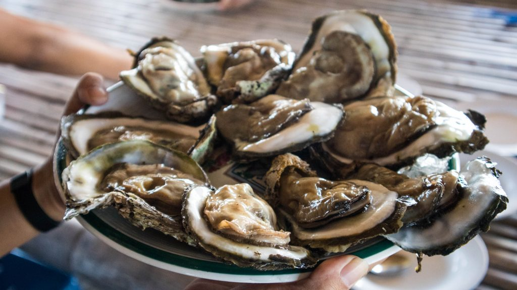 oysters on a plate in chanthaburi
