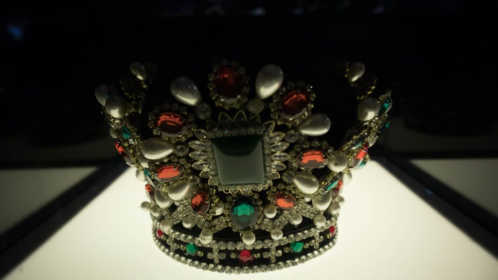 a crown with precious stones in chanthaburi, thailand.