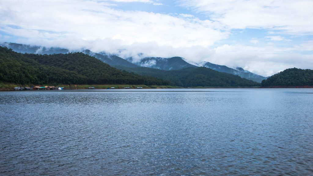 the view on mae ngat dam, mountains with clouds