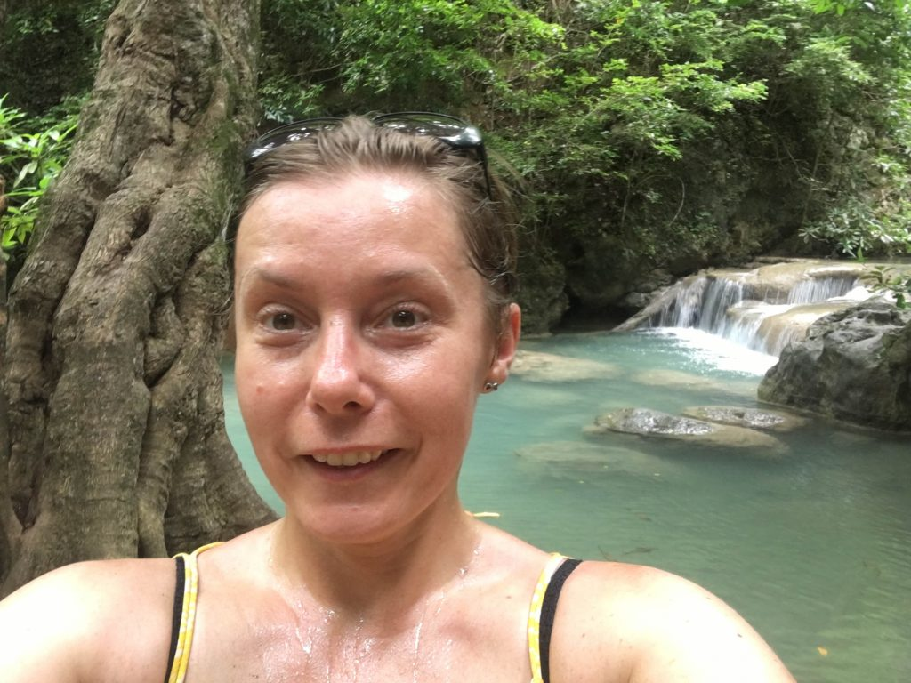 sweating at erawan waterfall