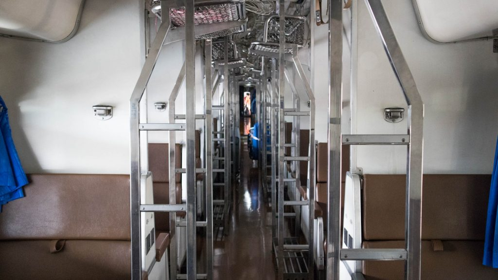 chiang mai - bangkok train inside of a carriage