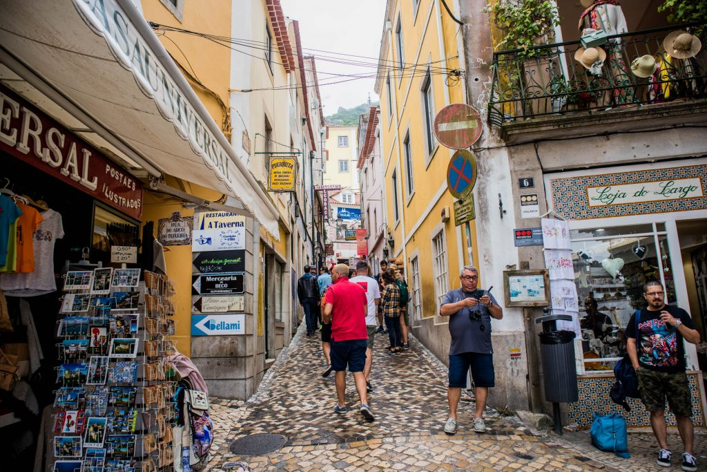 people walking on the streets of sintra