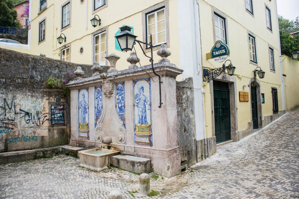 a street with azulejos in sintra