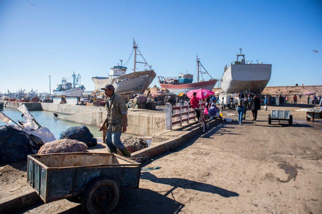 statki i kutry w porcie essaouira pomiędzy stoiskami z rybami.