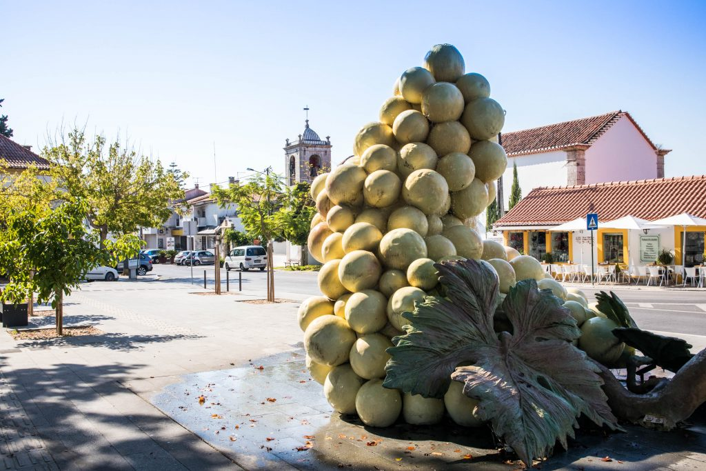 big grape shaped fountain in azeitao. There are houses and a church in the background.