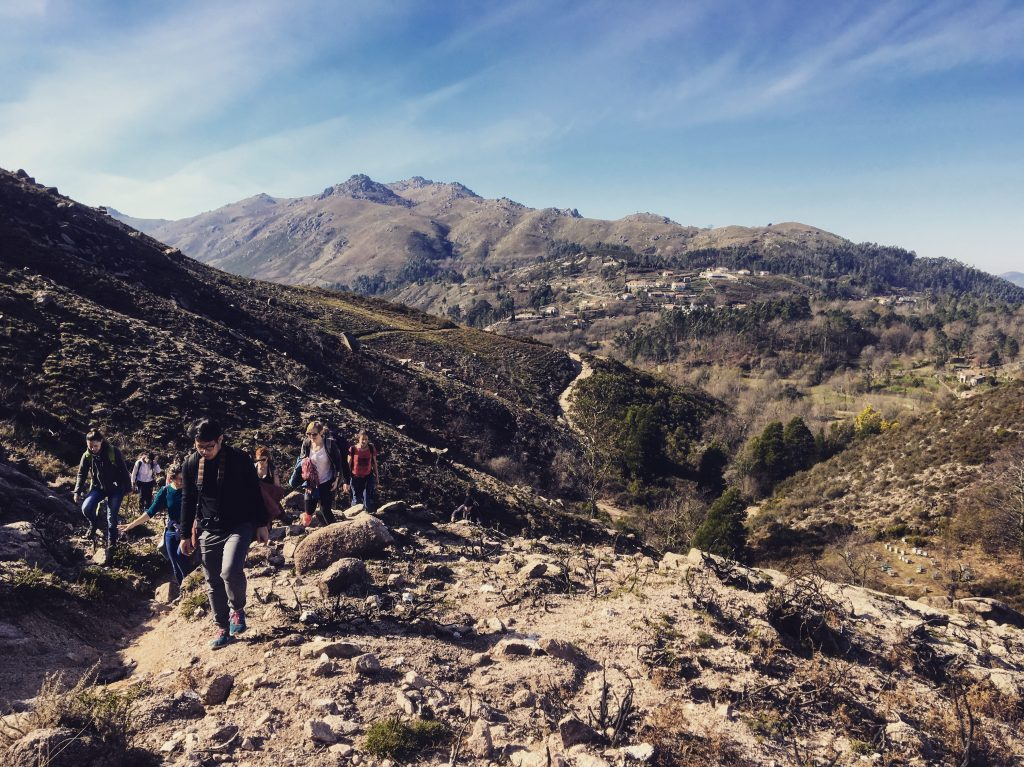 porto hiking group goes through mountains in the north of the country