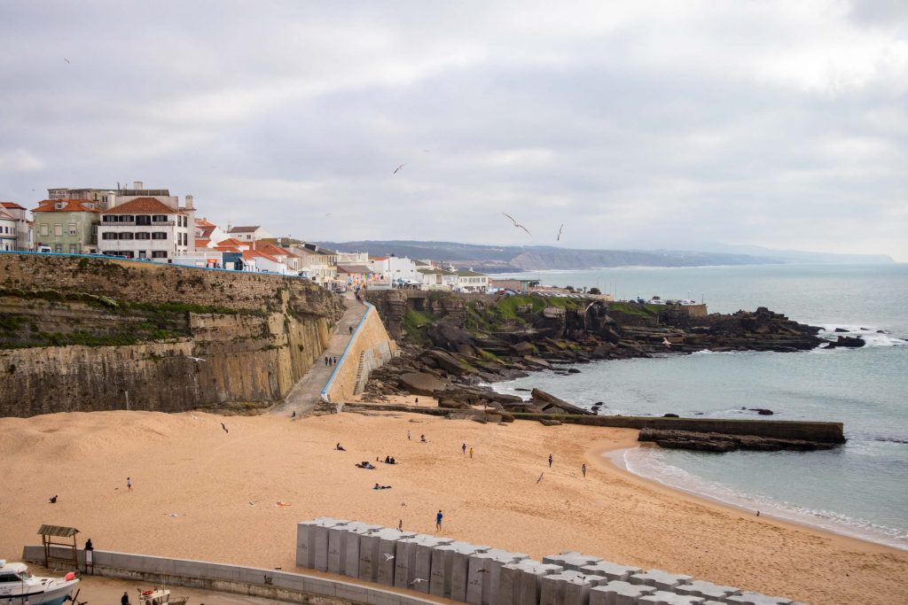 a view over the ericeira beach on a cloudy day