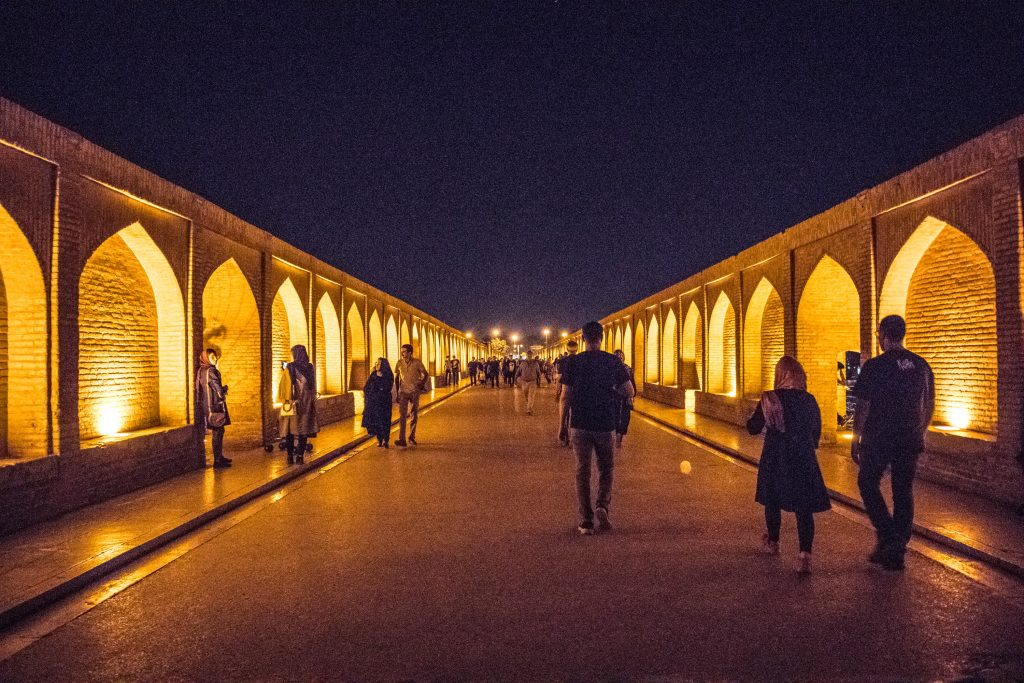 a bridge during a night in esfahan