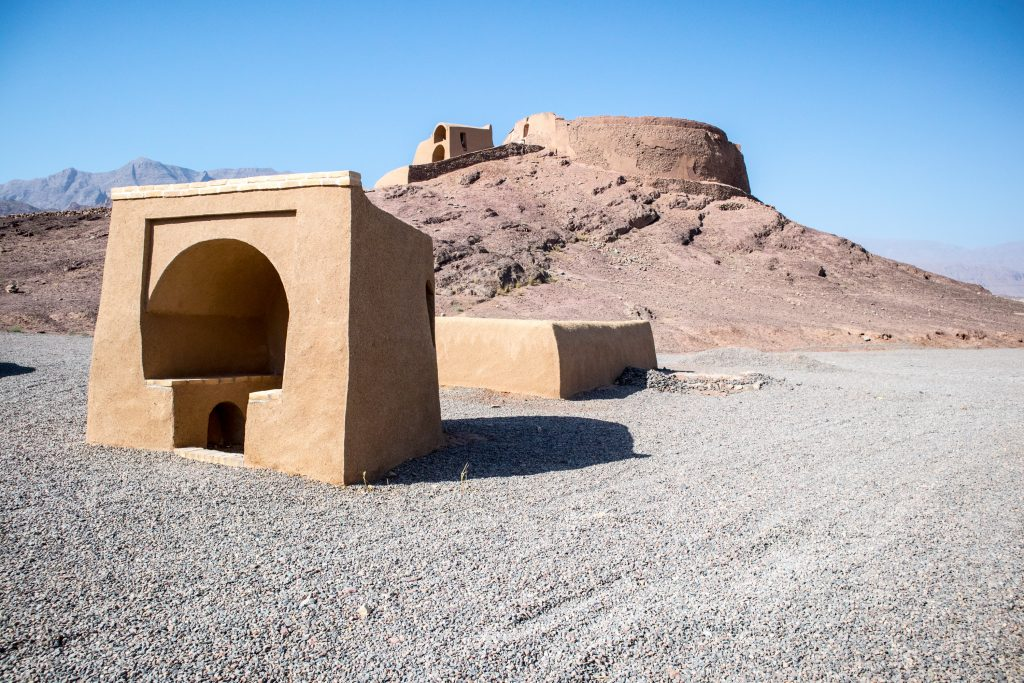 tower of silence in central iran in the desert