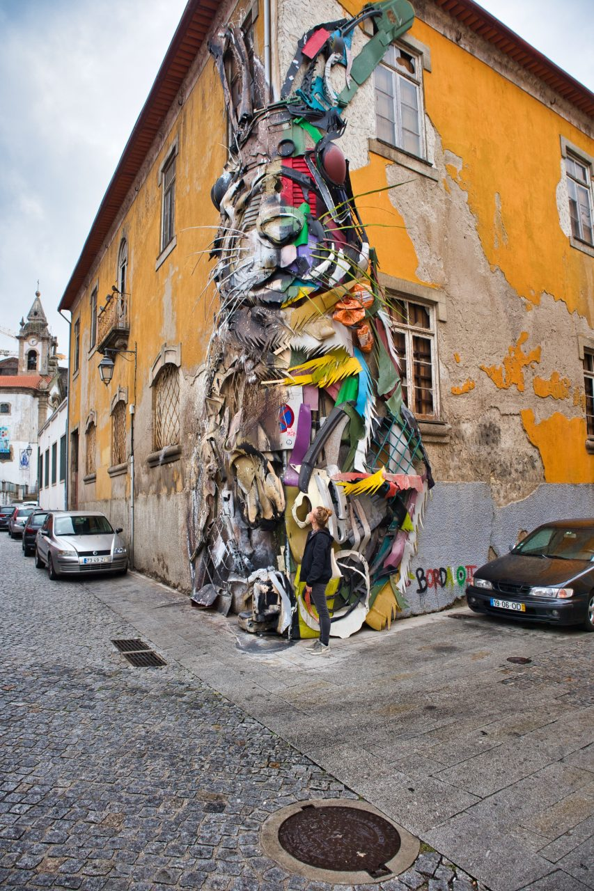 magda horanin stands at the huge rabbit of bordalo ii in vila nova de gaia, portugal