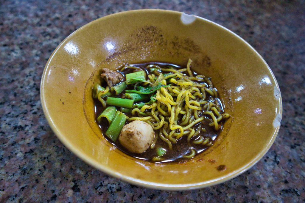 a soup with noodles in Bangkok, Thailand.